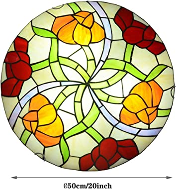 Ronde Lampe de Plafond, Vintage Style Tiffany Stained Glass Ceiling Light E27 Base encastré, Chambre Salon Salle à Manger Cou