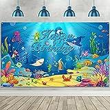 Decoarción de Happy Birthday de Animal de Océano, Fondo de Cumpleaños de Bajo de Mar Bandera Fondo de Fotografía de Cumpleaños de Tema de Océano, 72,8 x 43,3 Pulgadas