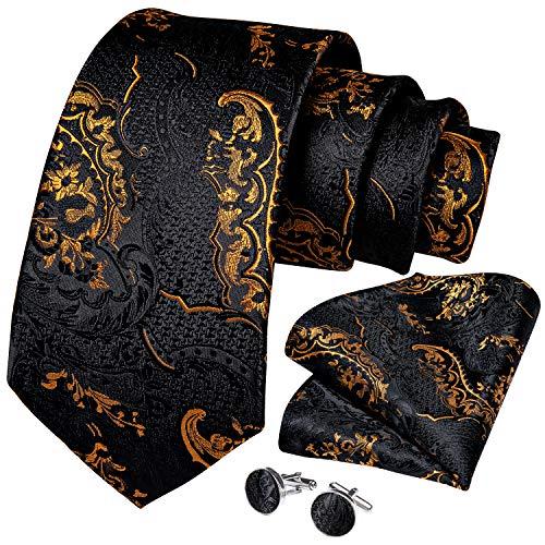 DiBanGu Formal Black and Gold Paisley Tie and Pocket Square Set for Men Silk Necktie Cufflinks Woven