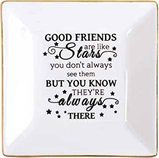 Kaidouma Friends Gift for Her Ring Trinket Dish Ceramic Jewelry Plate for Birthday Christmas - Good Friends are Like Stars - You Don't Always See Them But You Know They're Always There