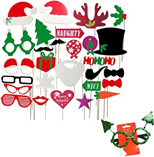 Simuer Christmas Party Photo Booth Props Merry Christmas Photo Props Kit for Party Decoration 28pcs with 1pcs Glasses
