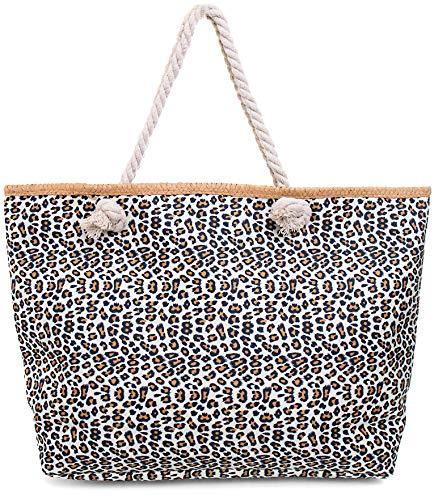 Faera Strandtasche Leoparden-Muster XXL Shopper Beach Bag mit breiter Kordel Schultertasche, Taschen Farbe:Weiss
