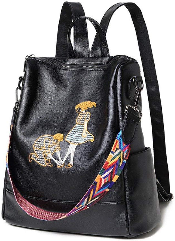 Eastery Handtasche Mittel Grer Lederrucksack Cityrucksack Für Damen Schwarz Vintage Hot Einfacher Stil Casual Tglichen Echtem Leder Rucksack Tasche Daypack Tasche, (Farbe   A, Größe   One Größe)