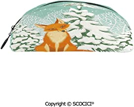 SCOCICI Semicircle Portable Stylish Pen Bag Stationery Pouch Red Fox Sitting in Winter Forest Snow Covered Pine Trees Xmas Cartoon Decorative for Stationery Women Small Makeup Bag 8x2x3 inch