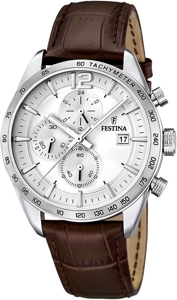 Festina orologio university timeless chronograph con cassa in acciaio inossidabile cinturino in pelle F16760/1