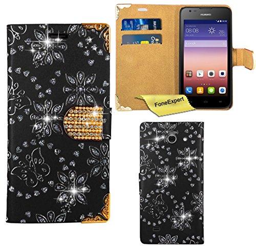 Huawei Ascend Y550 Hülle, FoneExpert® Bling Luxus Diamant Hülle Wallet Hülle Cover Hüllen Etui Ledertasche Premium Lederhülle Schutzhülle für Huawei Ascend Y550 + Bildschirmschutzfolie (Schwarz)