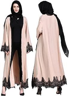Pandaie Women Kimono, Muslim Women Islamic Clothing Lace Splicing Long Coat Middle East Long Robe