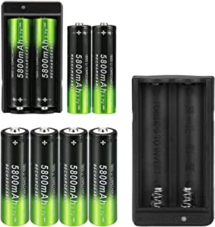 8 Pack 3.7V Rechargeable Battery 5800mAh Button Top Batteries Lithium Ion Battery with 2 Pack Two Slot Charger for 18650 Spotlight Flashlight Headlamp etc.