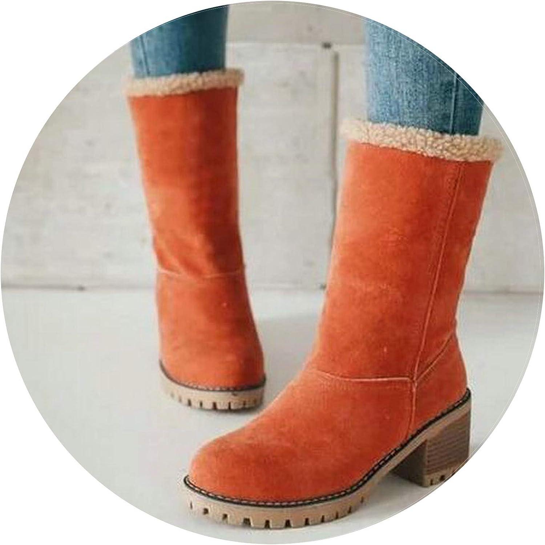 Winter Plush Warm Women Boots Square Heel Ankle Snow Boots Platform Fur Casual shoes