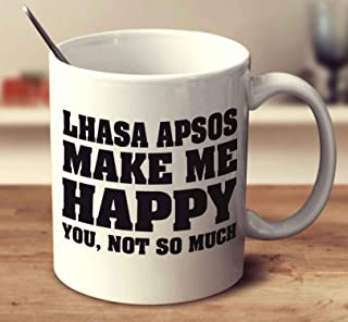 Lhasa Apsos Make Me Happy Coffee Mug (White, 11 oz)