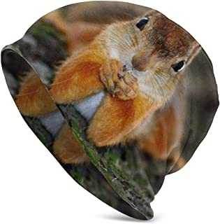 Funny Thinking Squirrel Slouchy Knit Cuffed Beanie Hat for Men Women Winter Ski Skull Cap Black