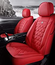 YRRC New Cushions Leather Front and Rear Seat Covers, Compatible with Airbags, Five Seasons Universal Seat Cover,Red