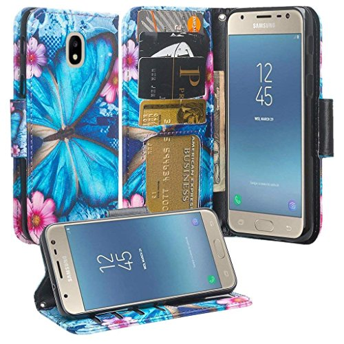 Phonelicious Wallet PU Leather Case For SAMSUNG GALAXY J3 2018 (J337)/J3 ACHIEVE/J3 STAR/EXPRESS PRIME 3 Pouch ID Credit Card Cover Flip Style with Money Slot +Pen (BLUE BUTTERFLY)