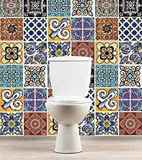 Tiles Stickers Decals - Packs with 36 Tiles (3.9 x 3.9 inches, Wall Decals Mexican Talavera Style Decoration Artwork Design)