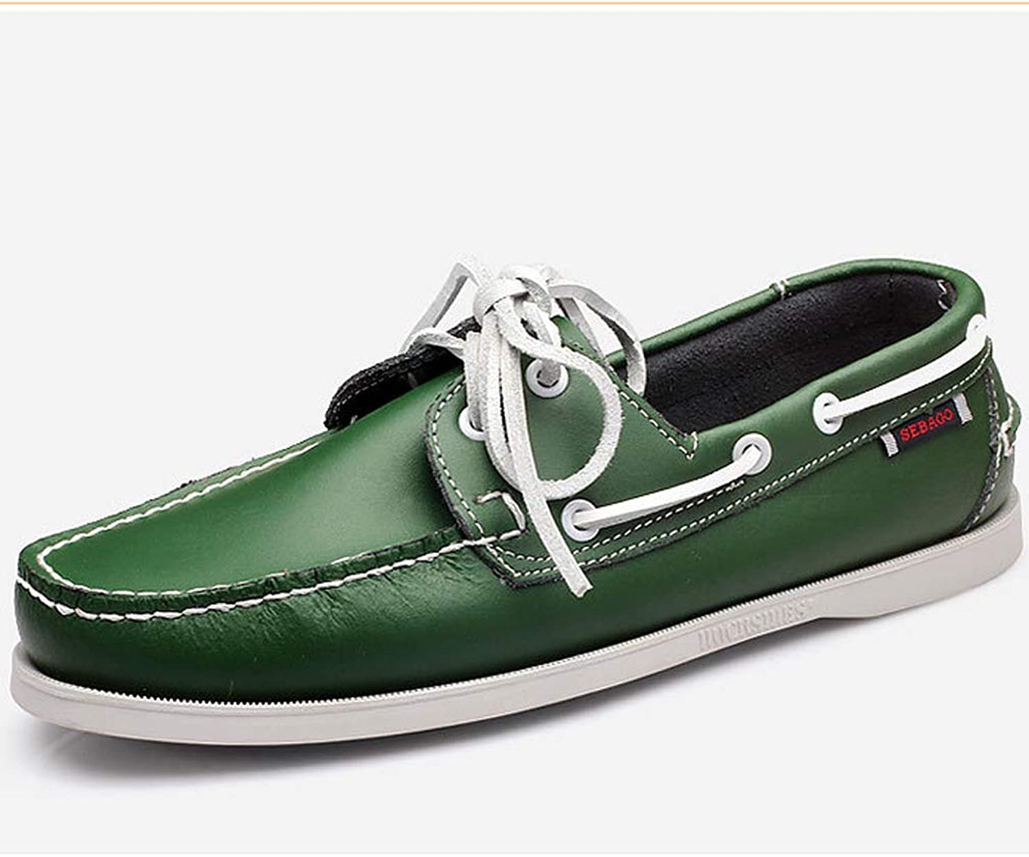 TAZAN Men's leather lace deck casual shoes Moccasin boat shoes outdoor business party spring and autumn breathable driving shoes black white brown green red