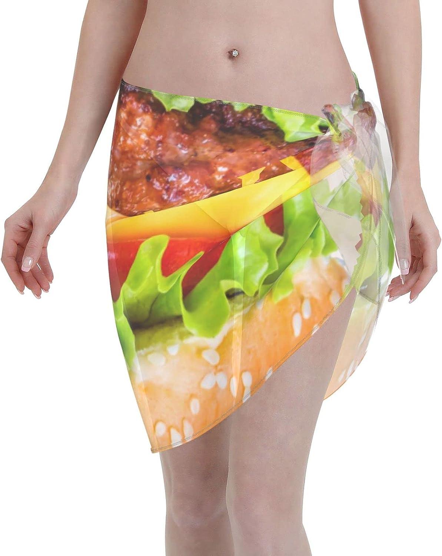 Hamburger Food Delicous Eggs Avocados Women Short Sarongs Beach Wrap Sheer Sexy Short Skirt Bikini Scarf Chiffon Cover Ups for Swimwear Black