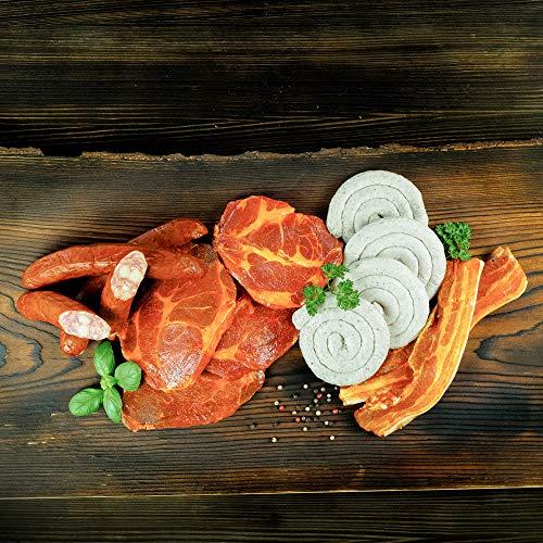 WURSTBARON® Bayerisches Wurst & Fleisch Grillpaket für 5 Personen (ca. 1.6kg) mit Schweinenacken Steak, Wammerl, Grillwurst Bratwurst-Schnecke, Käsekrainer