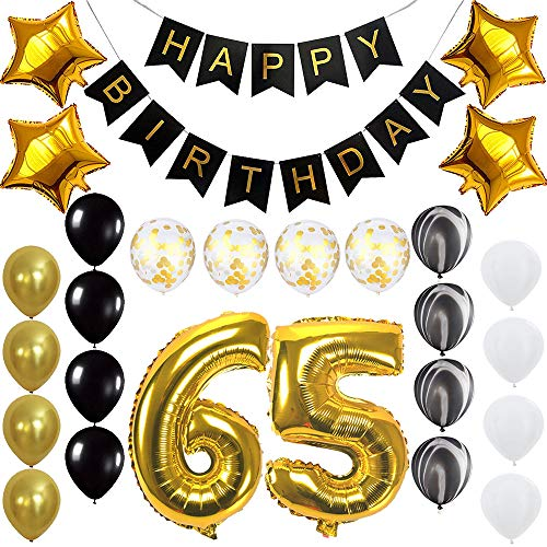 Happy 65th Birthday Banner Balloons Set for 65 Years Old Birthday Party Decoration Supplies Gold Black