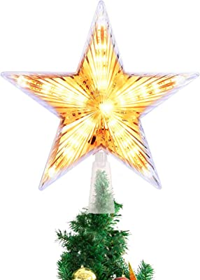 Toyvian Christmas Tree Topper LED Light up Star Tree Topper Tree Star Holiday Party Favors Xmas Tree Decoration Ornaments