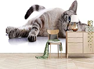 VITICP Adults Kids Wall Stickers Decals Peel and Stick Removable Wallpaper Grey Animal Kitten for Nursery Bedroom Living R...