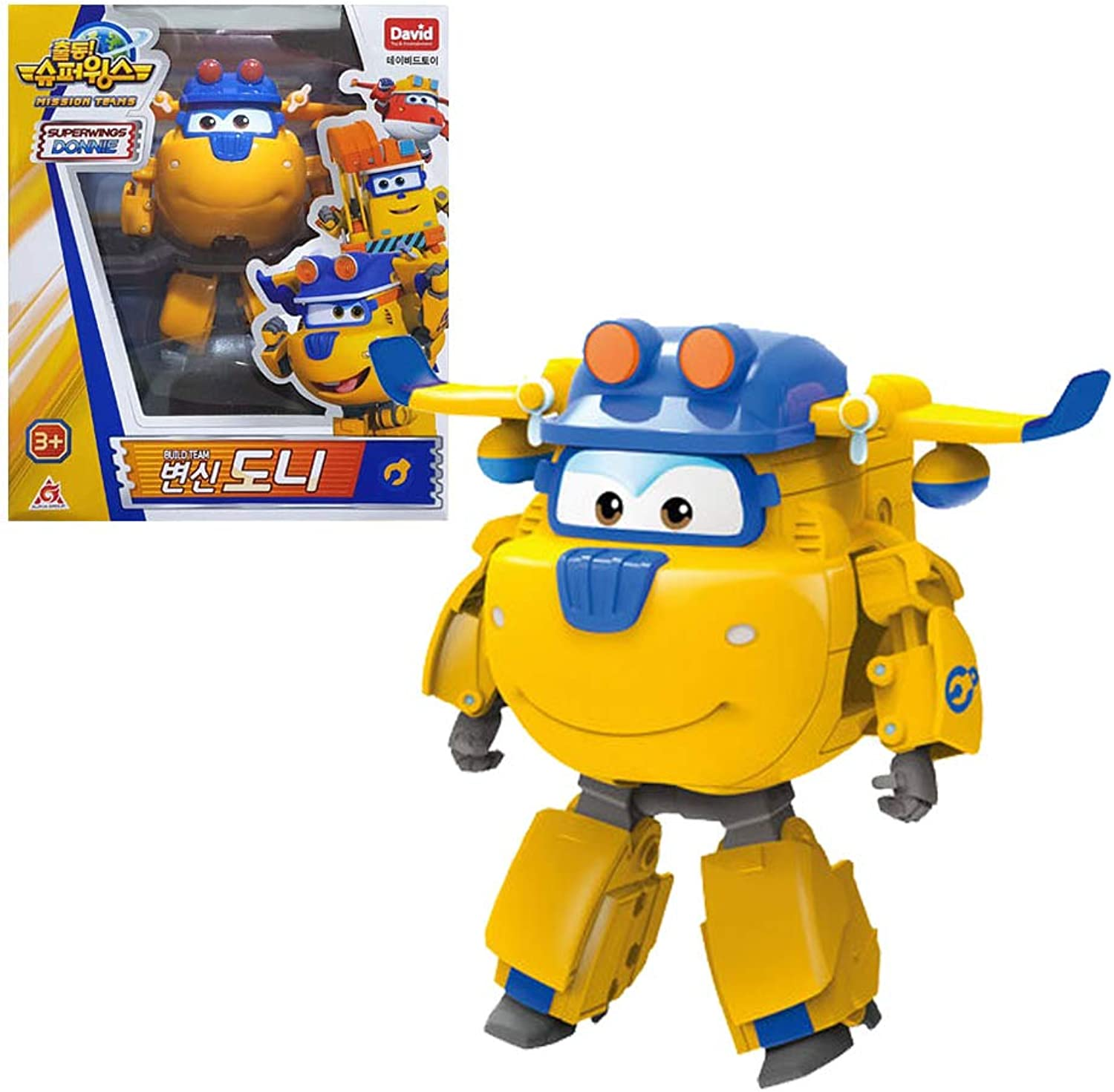 David toy Super Wings Season 3 Airplane Transforming Robot Toy Action Figures for Boy Girls Kids (Yellow, 5 ) Donnie