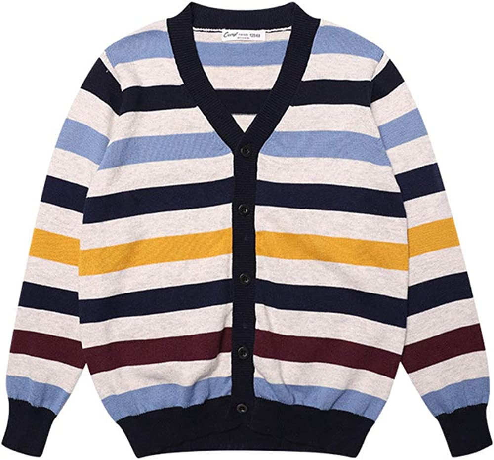 Stripe Sweater for Boys Fashion Knit Pullovers Children Soft Cardigan Knitwear Tops