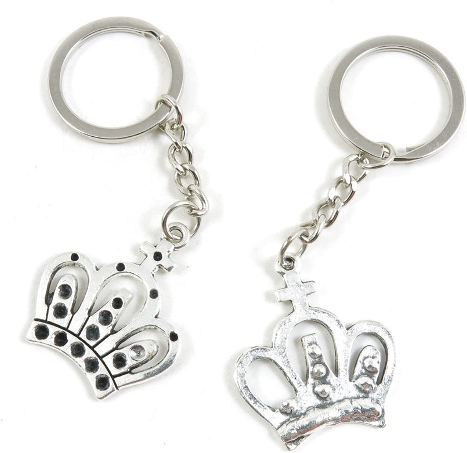 100 Pieces Keychain Keyring Door Car Key Chain Ring Tag Charms Bulk Supply Jewelry Making Clasp Findings F3HO7N Crown