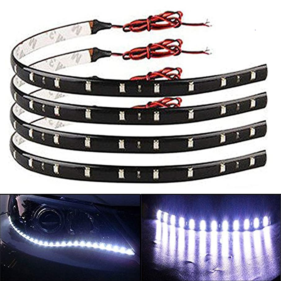 EverBright 30CM 5050 12-SMD DC12V 4 Pieces Waterproof LED Strip light, for Car Interior & Exterior Decoration DRL Day Running Light, White