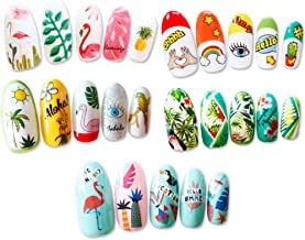 15x Water Transfer Nail Art Stickers Water Decals for Nails for Nail Decoration Nail Design Professional/DIY, Tropical Summer Patterns - Banana Leaves/Fruits/Flamingos/Mermaids