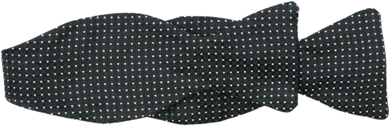 Dion Men's Silk Basket Weave Micro Squares Hook Bow Tie