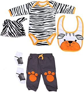 GLOGLOW Doll Clothes, 20-22 Inch Simulation Infant Doll Clothes Set Cute Striped Cartoon Bear Clothes Lovely Baby Doll Clo...
