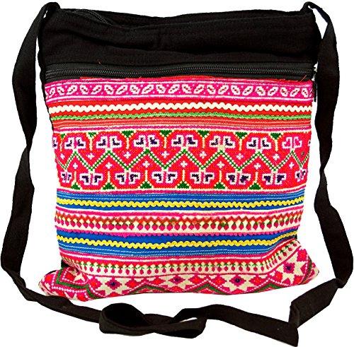 Guru-Shop Bolso de Hombro, Bolso Hippie Chiang Mai, Unisex - Adultos, Rosa, Algodón, Tamaño:One Size, 27x23 cm, Bolsas de Hombro