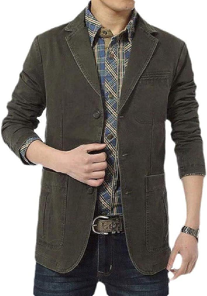 Men Business Cotton Suit Coat Solid Casual Dress Blazer Jacket Sport Coat