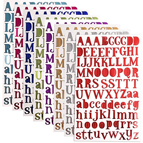 Carta Pegatinas Del Alfabeto Autoadhesivo, 8 Colores Pegatinas de Letras Alfabeto para Scrapbooking Manualidades Decoración Adornos, Cada Color One Hojas
