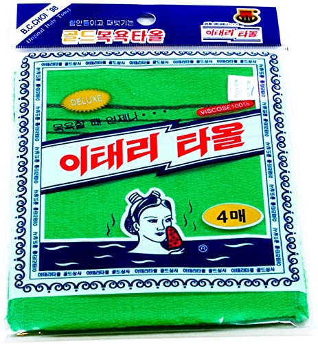 Korean Exfoliating Bath Washcloth [4 pcs] (Green) by TeChef Home by Korean Italy Towel