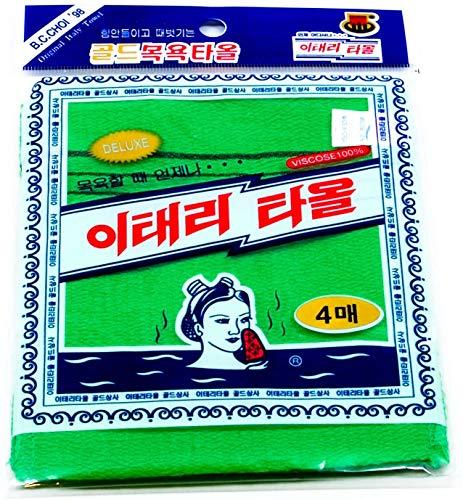 Songwol Towel Exfoliating Towel Bath Washcloth 4 Pcs (Green) for Dead Skin
