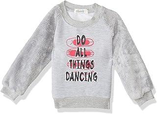 Giggles Ribbed Trims Letter Print Long Eyelash Knit Sleeves Sweatshirt for Girls