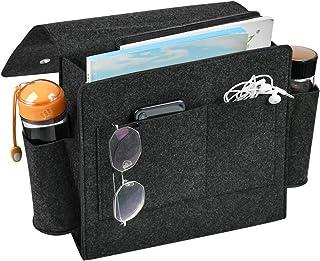 YOTINO sängsida förvaringsväska filt sängkant ficka med vattenflaskhållare, tidningshållare för hem högskola sovsal sovru...