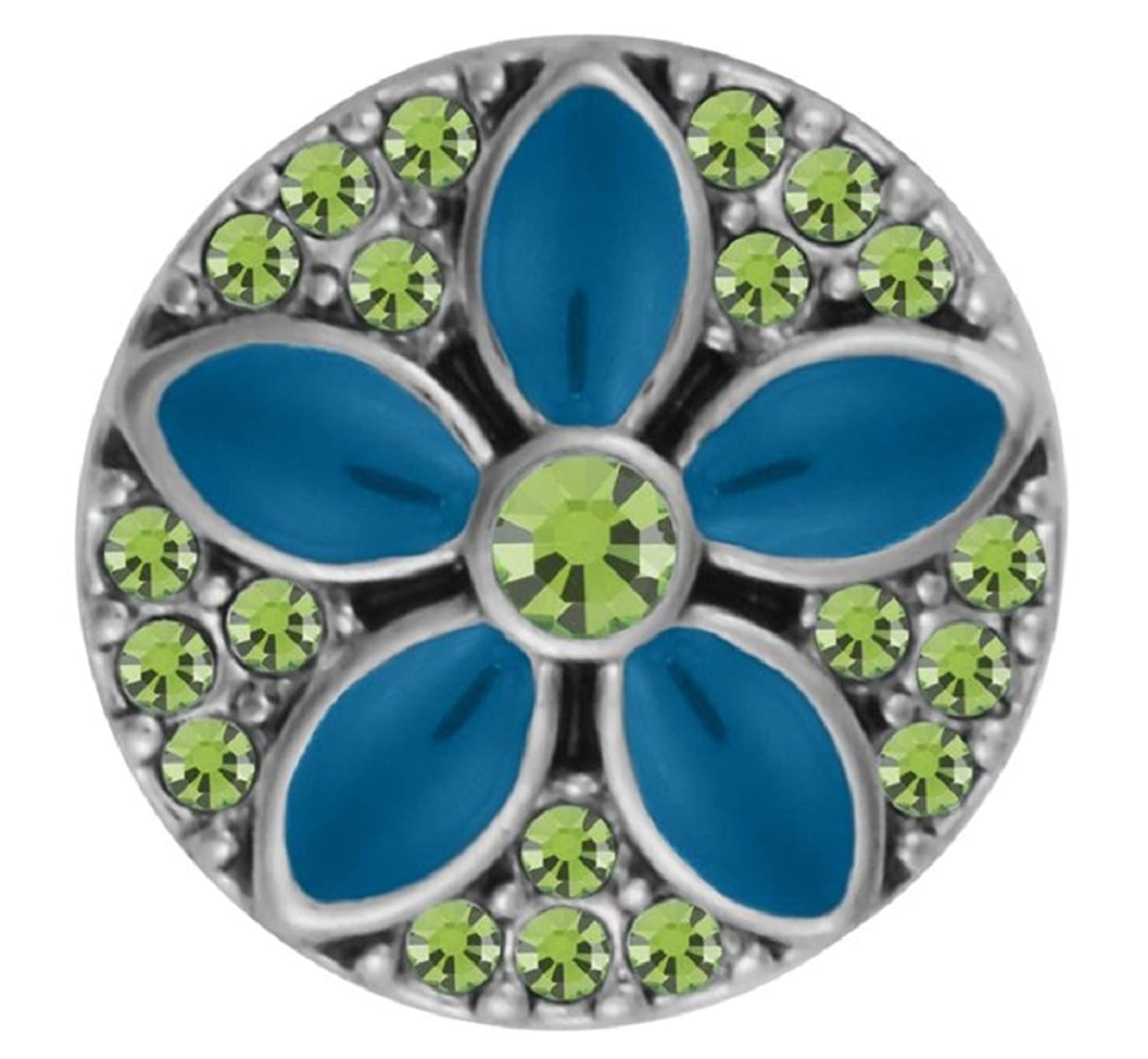 Ginger Snaps PETITE Maris Flower - Turquoise and Green GP15-62 Interchangeable Jewelry