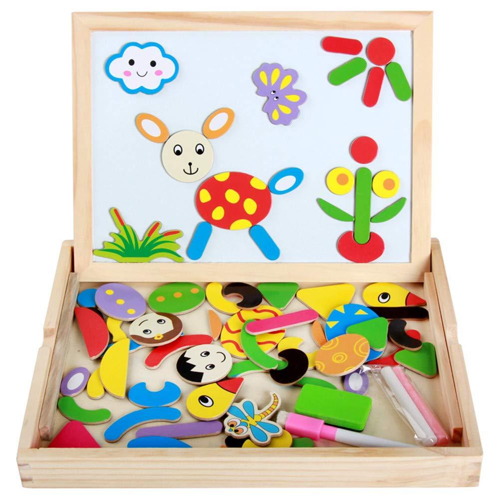 Tablero de Dibujo para niños Rompecabezas magnético de Madera para niños Juego de Mesa de Dibujo Pizarra magnética Whiteboard Chalk Easel Toy para niños 3 4 5 6 años de Edad: Amazon.es: Hogar