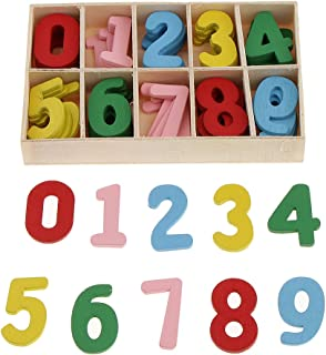 Prettyia 学習  おもちゃ  勉強  知育玩具  幼児早期教育  おもちゃ 工芸品 装飾品 木製ボックス アラビア数字 約60個入り