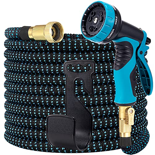 LOOHUU Expandable Garden Hose 100ft, Water Hose with 10 Function Nozzle, Lightweight Flexible Hose with 3/4 Inch Solid Brass Fittings and 3-Layer Latex Core