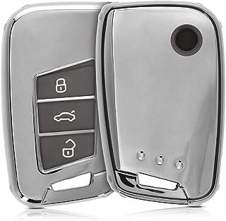 kwmobile Autoschlüssel Hülle kompatibel mit VW 3 Tasten Autoschlüssel (nur Keyless Go)   TPU Schutzhülle Schlüsselhülle Cover in Hochglanz Silber