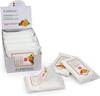Purdoux PÜRDOUX 100% Cotton CPAP Mask Wipes with Grapefruit Lemon Scent (Box of Total 120 Wet Wipes in 12 resealable sachets, 10 Wipes per Sachet)