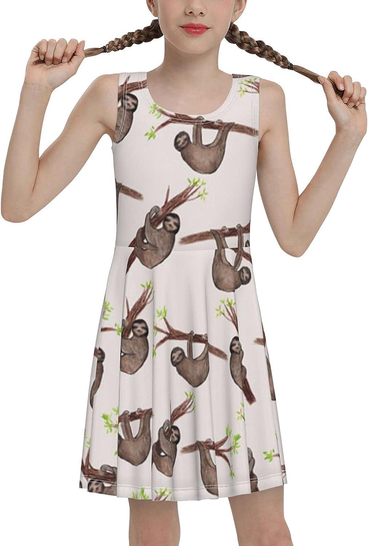 Sloth Tree Sleeveless Dress for Girls Casual Printed Pleated Skir