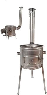 Esschert Design Terrassenofen//Grill im Betonlook Gr/ö/ße S zweiteilig 39 x 38,5 x 84 cm aus Ton//Eisen 2in1 Grill und Ofen