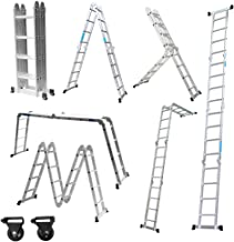 3,2 M Ausziehleiter Klappleiter Mehrzweckleiter mit 9 Stufen Stehleiter Teleskopleiter aus Aluminium DREAMADE Teleskopleiter Klappbar Rutschfest und Ausziehbar