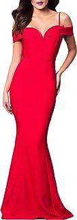 Abiti da Cerimonia Donna Lunghi Eleganti Abito da Sposa Moda Senza Chic Ragazza Spalline Curvy Slim Tubino Nobile Impero V...