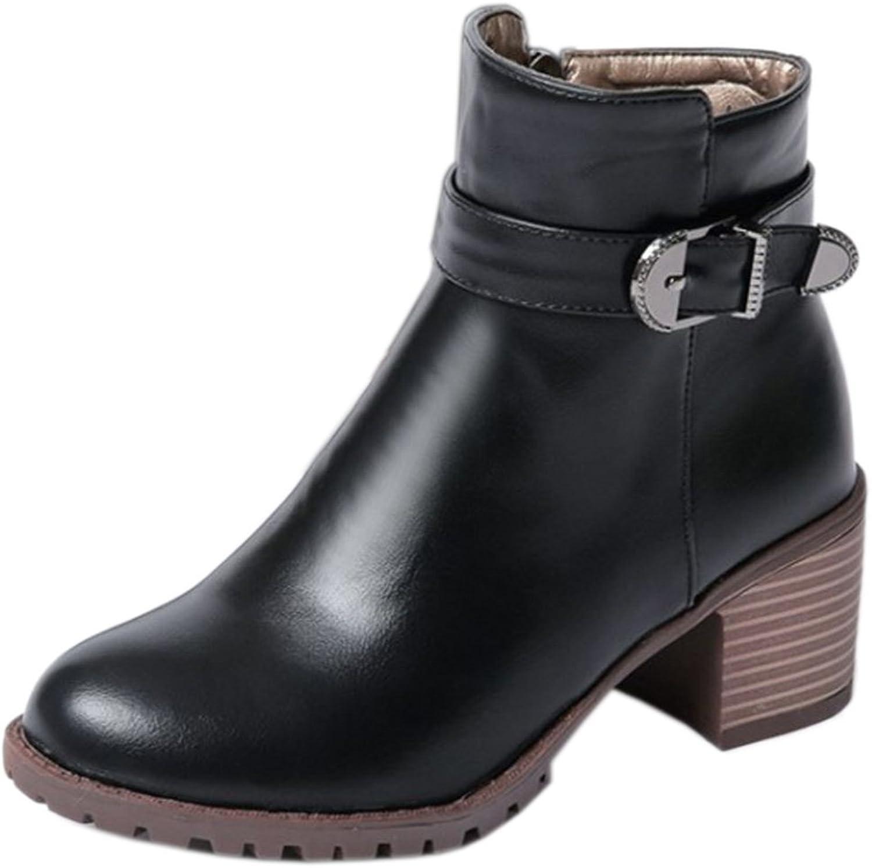 FizaiZifai Women Classics Mid Heel Zip Winter Boots Buckle Strap