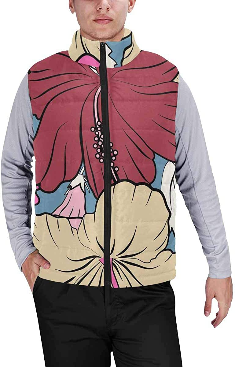 InterestPrint Men's Lightweight Outwear Vest for Hiking, Fishing Tropical Design with Hibiscus, Leaves and Buds XL